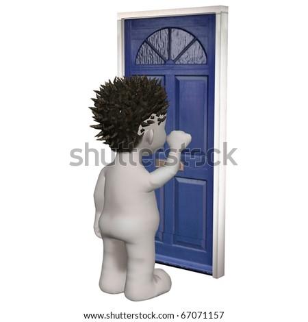 Boris character knocking at blue front door - stock photo