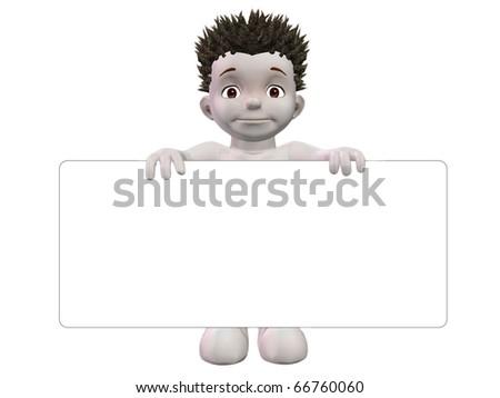 Boris 3D character holding blank white sign - stock photo