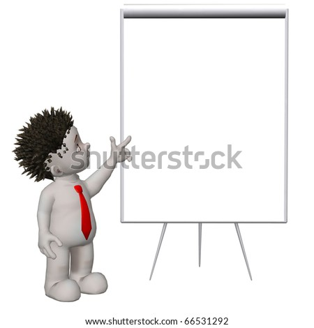 Boris 3D character pointing to blank flipchart - stock photo