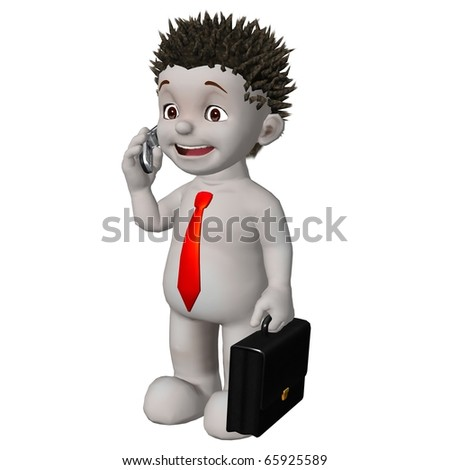 Boris 3d character talking on his mobile phone holding briefcase