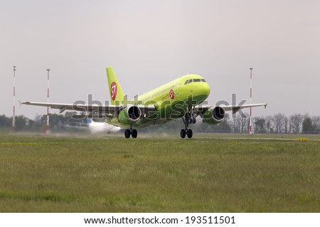 Borispol, Ukraine - May 18, 2014: S7 - Siberia Airlines Airbus A319-114 aircraft departing from the Borispol International Airport on May 18, 2014. Editorial use only