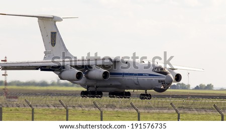 Borispol, Ukraine - May 6, 2014: Ukraine Air Force IL-76MD aircraft landing on the runway to Borispol International Airport on May 6, 2014. - stock photo