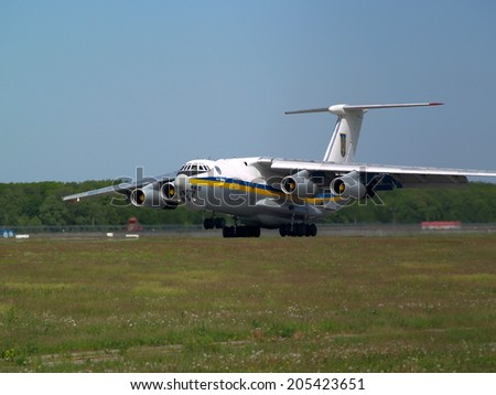 Borispol, Ukraine - May 9, 2014: Ukraine Air Force IL-76MD aircraft landing on the runway to Borispol International Airport on May 9, 2014. Editorial use only - stock photo
