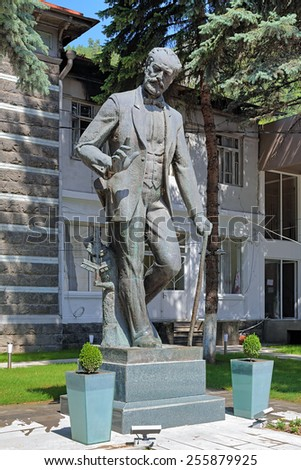 BORJOMI, GEORGIA - AUGUST 14, 2014: Monument of the Russian composer Pyotr Ilyich Tchaikovsky. The monument was unveiled in front of the music school to commemorate the visit of Tchaikovsky in 1887. - stock photo