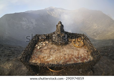 BORMO - JUNE 14, 2015: Statue of Lord Ganesha at the Bromo volcano crater in Bromo Tengger Semeru National Park, Indonesia. - stock photo