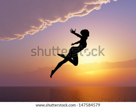 Born to be wild. Woman jumping into water. Symbol for success, freedom, happiness and self confidence   - stock photo