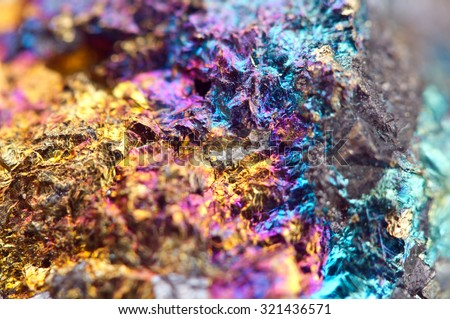 Bornite, also known as peacock ore, is a sulfide mineral with chemical composition Cu5FeS4 that crystallizes in the orthorhombic system. Macro - stock photo