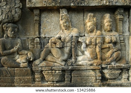 borobudur and prambanan temple - stock photo