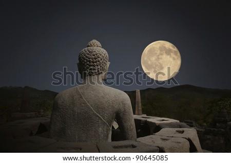 Borobudur night - stock photo