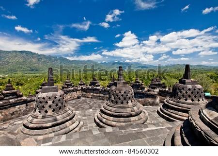 Borobudur old buddhist temple in Yogyakarta, Java, Indonesia. - stock photo
