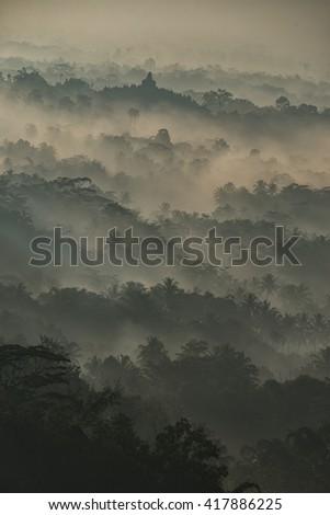 Borobudur seen from Setumbu Hill - stock photo