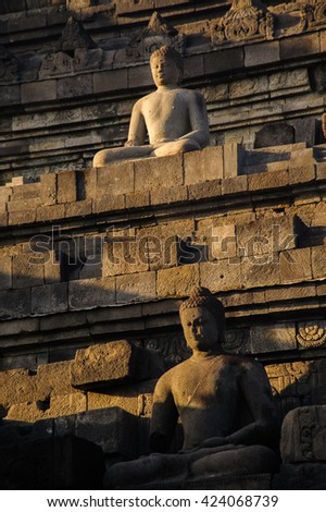 borobudur sunrise, unesco world heritage site, java, indonesia - stock photo