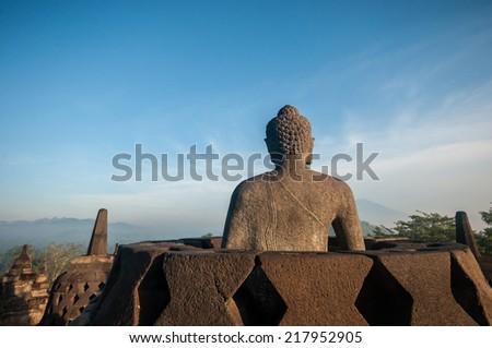 Borobudur Temple at morning, Yogyakarta, Java, Indonesia. - stock photo