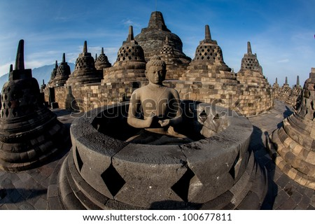Borobudur Temple at sunrise.  Indonesia. - stock photo