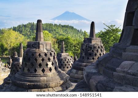 Borobudur Temple at sunrise.Indonesia.  - stock photo