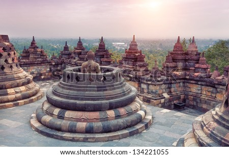 Borobudur Temple at sunrise.Java.Indonesia. - stock photo