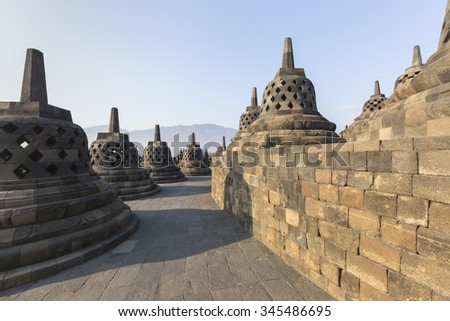 Borobudur temple complex on the island of Java in Indonesia in the morning at sunrise