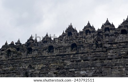 Borobudur temple in Yogyakarta, Indonesia - stock photo