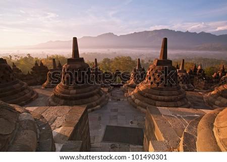 Borobudur Temple Morning  Sunrise in Yogyakarta, Java, Indonesia. - stock photo
