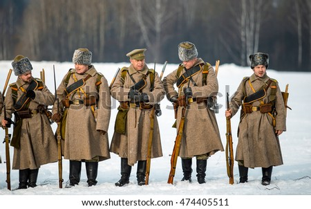 Borodino field, Moscow region, Russia - 22 February, 2015: Military historical reconstruction battles of World War I  1914/1916.