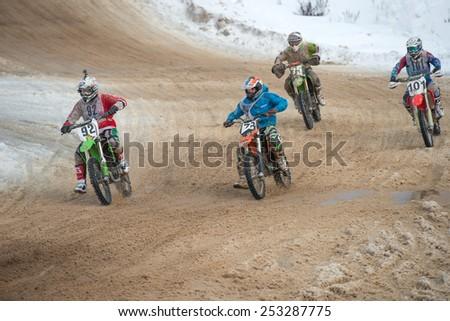 "BORODINO, RUSSIA - FEBRUARY 1: Unidentified riders at the track the All-Russian motocross named VP Chkalov on February 1, 2015 in Borodino, motor track motorcycle club ""Gallaks�», Russia - stock photo"