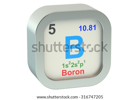 Boron element symbol isolated on white background - stock photo