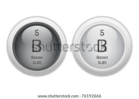 Boron Web Buttons Chemical Element Atomic Stock Illustration