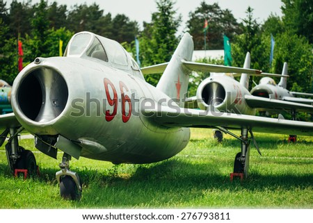 BOROVAYA, BELARUS - June 04, 2014: MiG-15 UTI is Russian Soviet high-subsonic fighter aircraft. It was used as effective threat against supersonic fighters of United States in Vietnam War. - stock photo