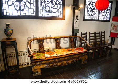 Borovsk, Kaluga region, Russia - August 28, 2016: The traditional Chinese interior rooms, Chinese furniture