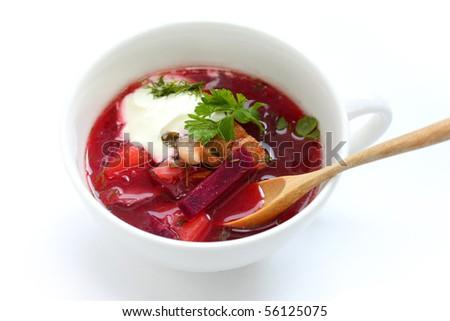 Borsch , Borscht , Russian Beetroot Soup - stock photo