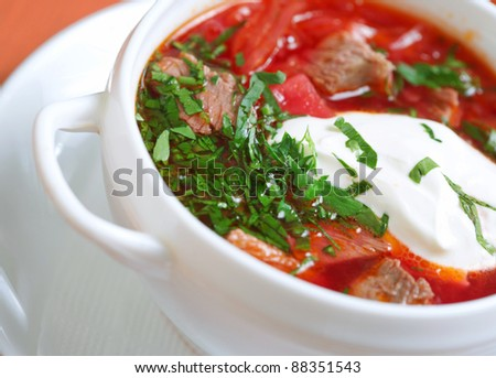 Borscht. Beetroot and cabbage soup. - stock photo