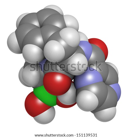 Bortezomib cancer drug (proteasome inhibitor), chemical structure. Atoms are represented as spheres with conventional color coding: hydrogen (white), carbon (grey), nitrogen (blue), oxygen (red), etc - stock photo