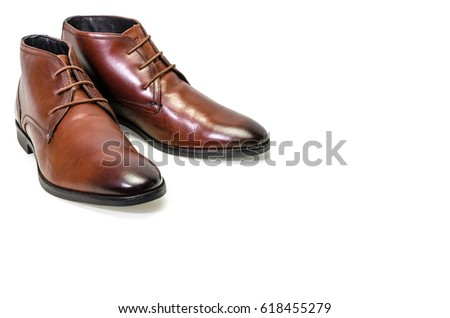 Borwn leather men shoes isolated on white background. Side view