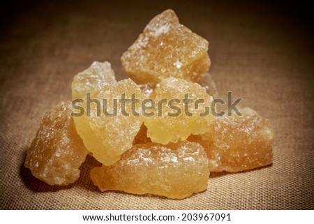 Borwn rock sugar - stock photo