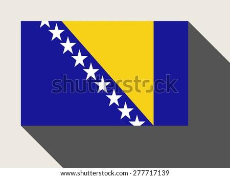 Bosnia and Herzegovina flag in flat web design style. - stock photo