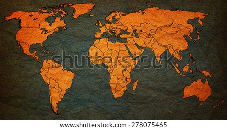 bosnia and herzegovina flag on old vintage world map with national borders - stock photo