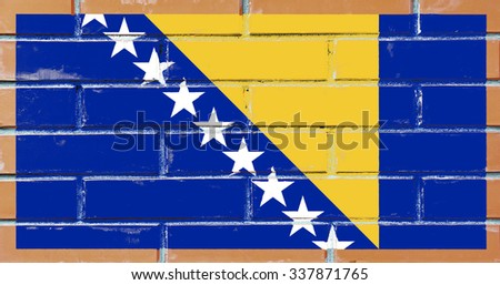 Bosnia and Herzegovina flag painted on old brick wall texture background - stock photo