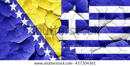 Bosnia and Herzegovina flag with Greece flag on a grunge cracked