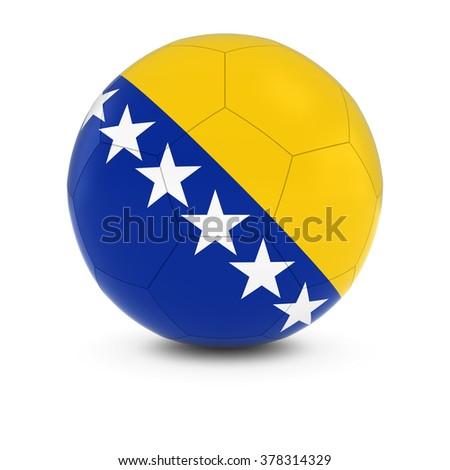 Bosnia and Herzegovina Football - Bosnian and Herzegovinian Flag on Soccer Ball - stock photo