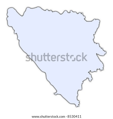 Bosnia and Herzegovina light blue map with shadow. High resolution. Mercator projection. - stock photo