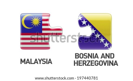Bosnia and Herzegovina  Malaysia High Resolution Puzzle Concept