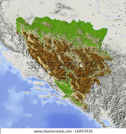 Bosnia and Herzegovina. Shaded relief map with major urban areas. Surrounding territory greyed out. Colored according to elevation. Includes clip path for the state area. Data source: NASA - stock photo