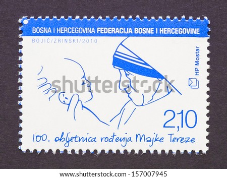 BOSNIA-HERZEGOVINA - CIRCA 2010: a postage stamp printed in Bosnia-Herzegovina showing an image of Nobel Peace Prize winner Mother Teresa, circa 2010. - stock photo