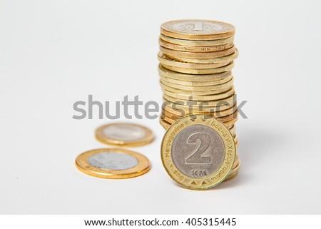 Bosnian convertible mark, coins - stock photo