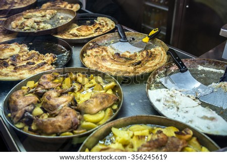 Bosnian rolled burek dish in Sarajevo, Bosnia and Herzegovina - stock photo