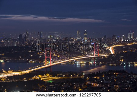 Bosphorus and bridge at night, Istanbul, Turkey