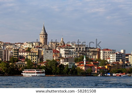 Bosphorus and Galata Tower, Istanbul, Turkey - stock photo