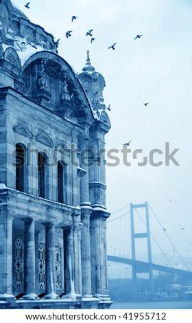 Bosphorus Bridge and Ortakoy Mosque in Istanbul Turkey - stock photo