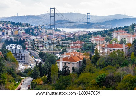 Bosphorus Bridge and the panorama of the European part of Istanbul, Turkey - stock photo