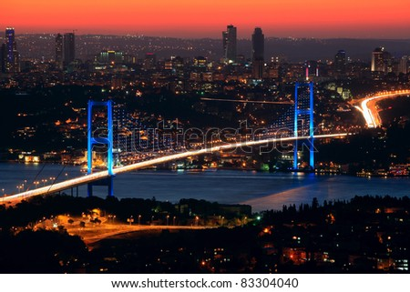 Bosphorus Bridge at night in Istanbul,Turkey
